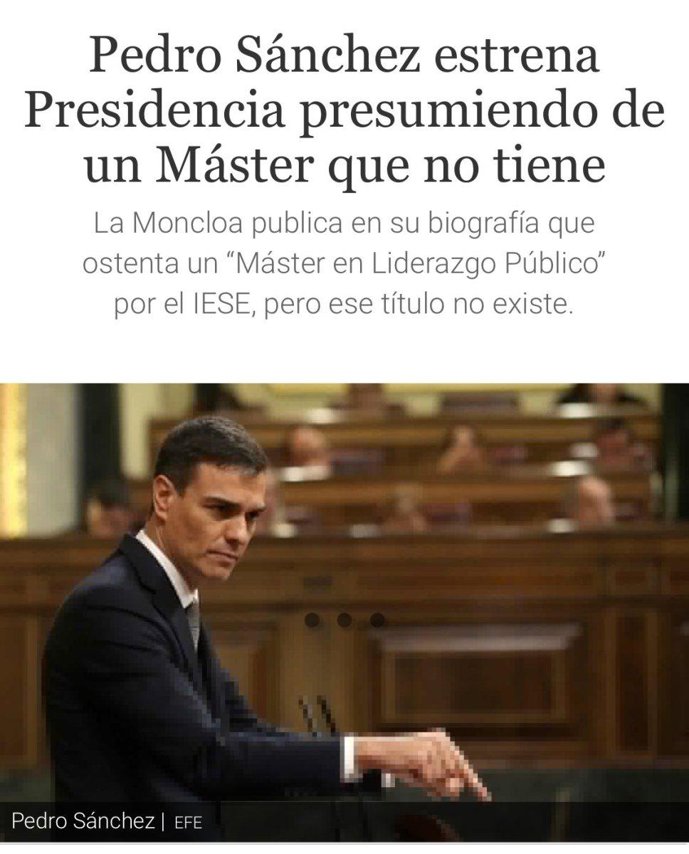 Tras la estela de Cifuentes: Pedro Sánchez se inventa un Master falso